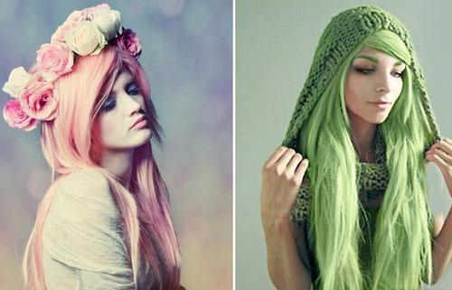 مدل هایلایت و رنگ مو فانتزی برای دختر خانم ها