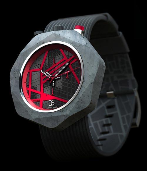 طراحی ساعت مچی متفاوت از جنس بتن + عکس