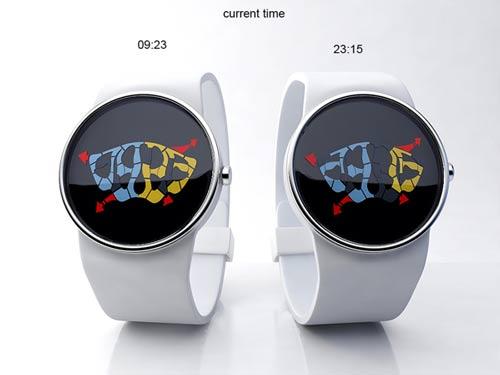 ساعت مچی جالبی که عقربه های آن نقاشی هستند