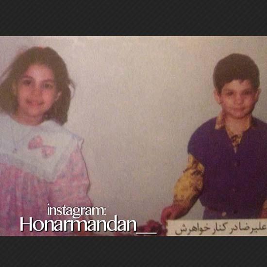 عکس کودکی خوش تیپ ترین کاپیتان ایران و خواهرش
