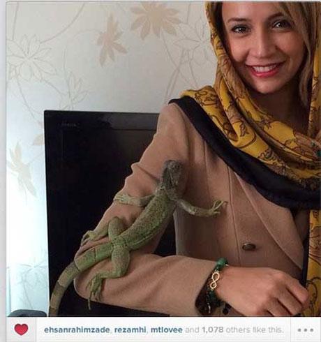 شبنم قلی خانی در کنار حیوان غیرعادی اش + عکس