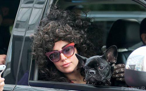 استایل  عجیب و جدید لیدی گاگا به همراه سگ جدیدش + عکس