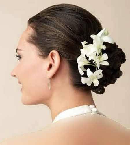 شیک ترین مدل موی نامزدی با تزئین گل
