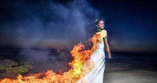 خلاقیت عروس کارش را به سوختن در آتش کشاند + عکس