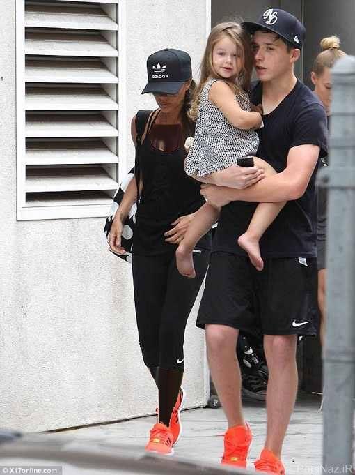 دختر دیوید بکهام مشهور در آغوش برادرش + عکس