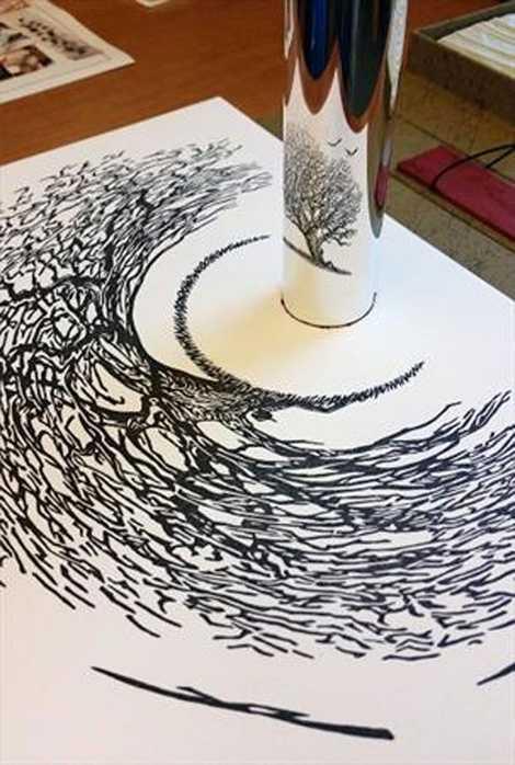 برای دیدن این نقاشی ها به آینه محدب احتیاج دارید