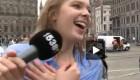 لخت شدن دختر در خیابان و انجام چالش آب یخ + عکس