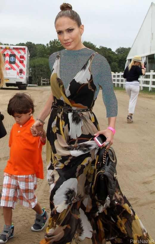 عکس های داغ جنیفر لوپز و دوقلوهایش در یک مسابقه
