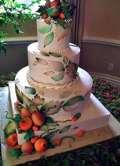 مدل های جدید کیک عروسی ویژه فصل پاییز