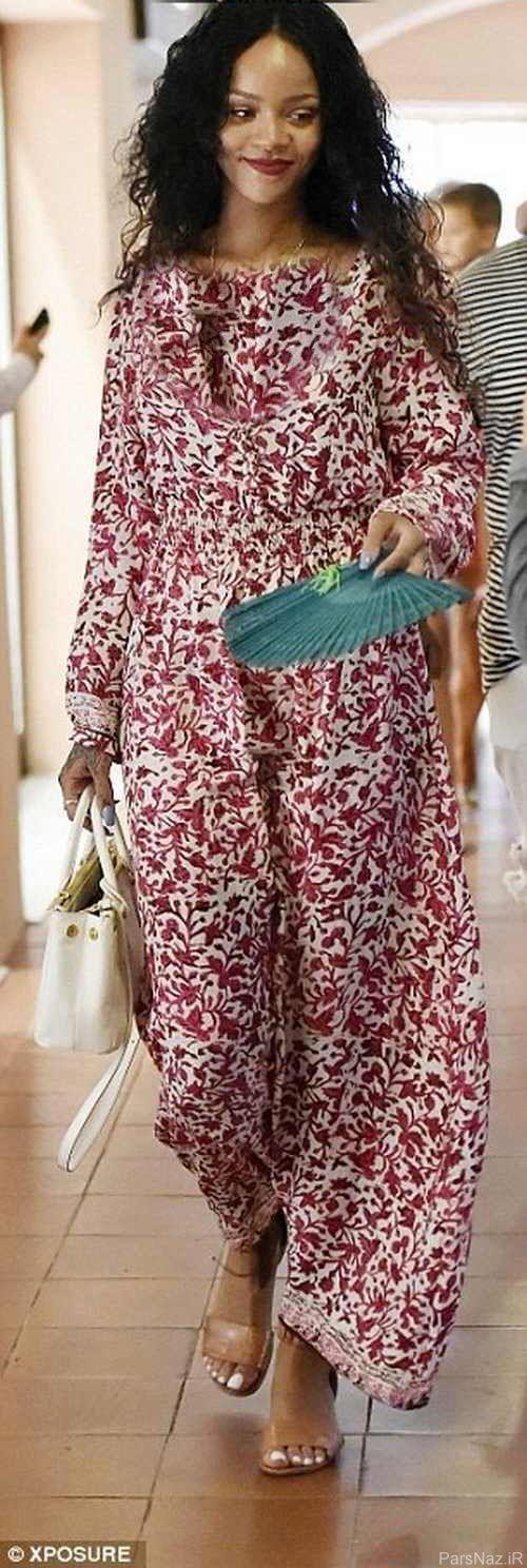 لباس پوشیده و بلند ریحانا در ایتالیا سوژه شد + عکس