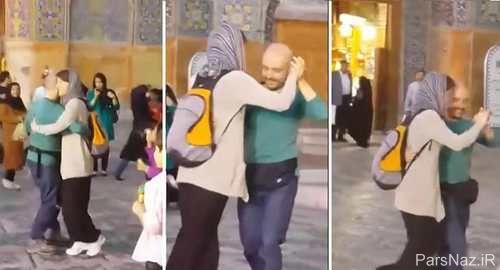 عکس داغ و جنجالی رقص تانگوی دختر و پسر جوان مقابل مسجدی در اصفهان