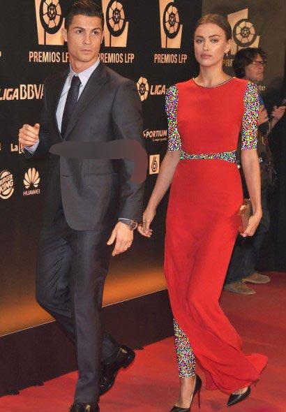 کریس رونالدو به همراه نامزدش در مراسم 2014 لالیگا