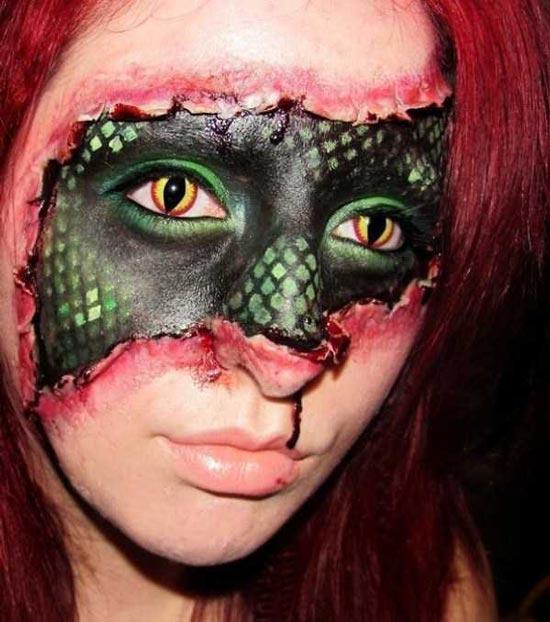 عکسهای ترسناک از هنرنمایی دختر جوان برای جشن هالووین