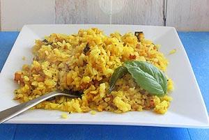 طرز پخت برنج با سبزیجات و مغزها
