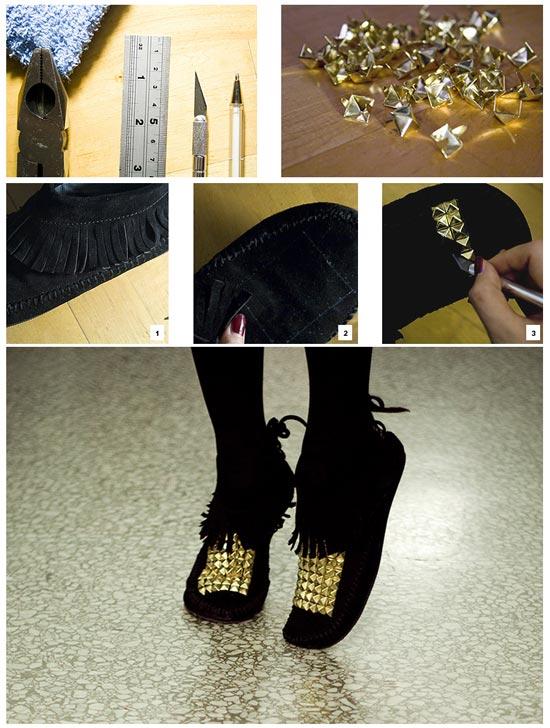آموزش تزئین کفش به کمک مهره های طلایی