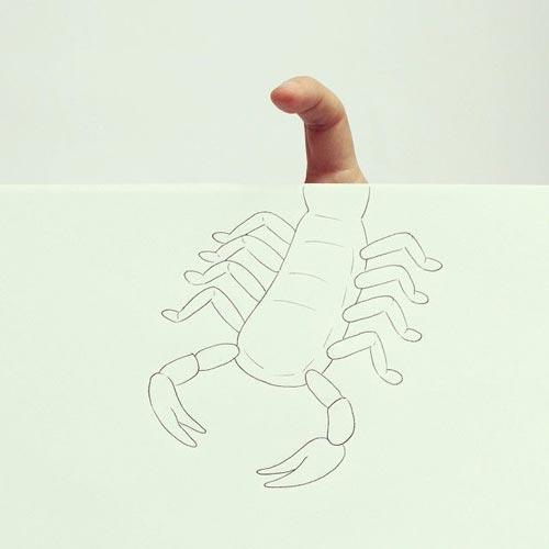 ترکیب نقاشی و انگشتان دست +عکس
