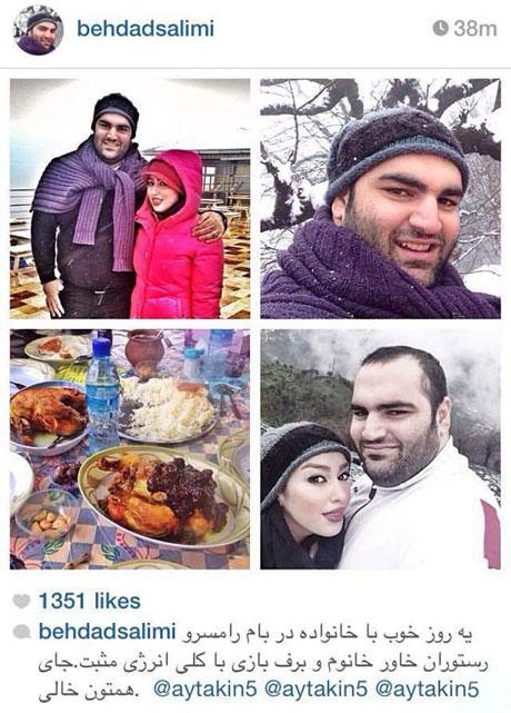ورزشکار دوست داشتنی ایرانی در کنار همسرش در شمال +عکس
