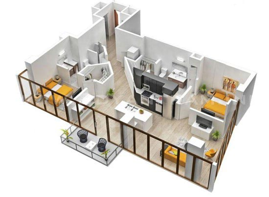 ایده هایی جالب برای طراحی خانه های دوخوابه