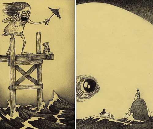 عکس های دیدنی نقاشی های مفهومی ترس کودکان