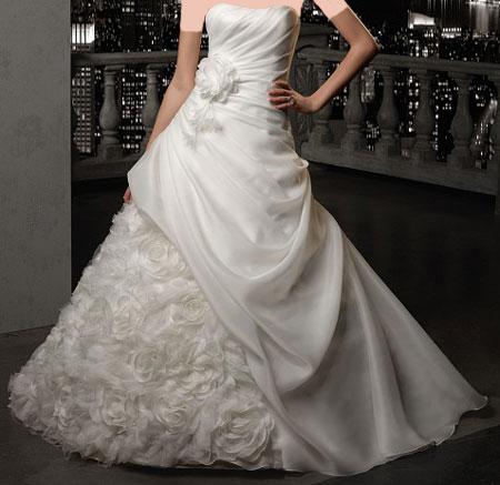 مدل لباس عروس های 2015 طرح ساتن و گیپور