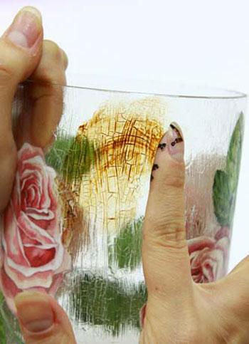 آموزش دکوپاژ بر روی ظروف شیشه ای و پتینه ترک نما