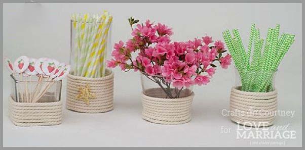 با طناب کنفی گلدان های زیبا بسازید