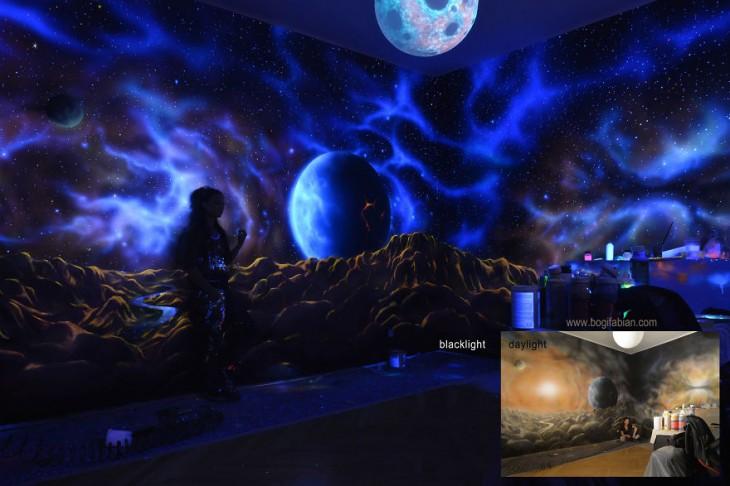 نقاشی های تخیلی  چند بعدی در اتاق خواب بخشی از دکوراسیون