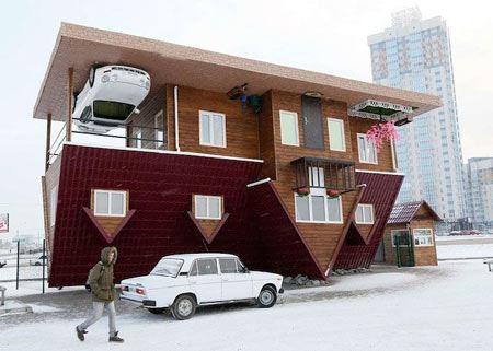 تصاویر جالب از خانه ای عجیب که وارونه شد