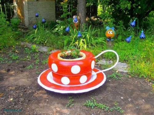 تزیین باغچه و گلدان های زیبا با وسایل بازیافتی