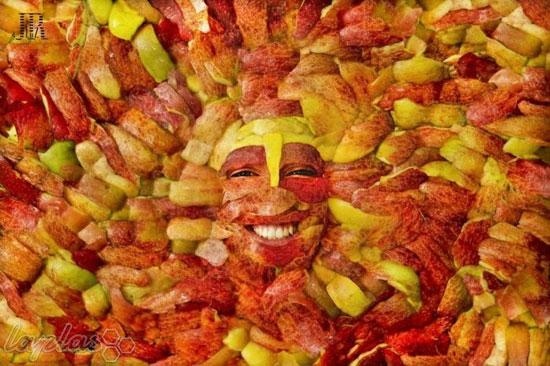 تصاویر انسان هایی که تبدیل به میوه و سیفی جات شدند