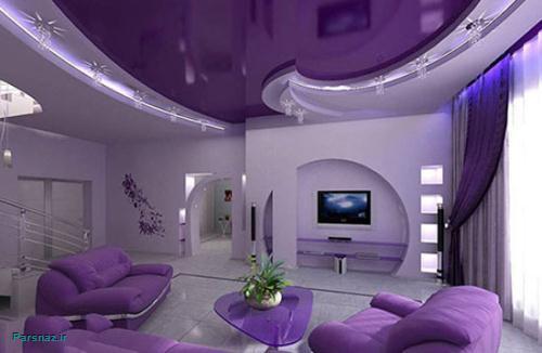 خانه رویایی و مدرن با دکوراسیون یاسی و بنفش