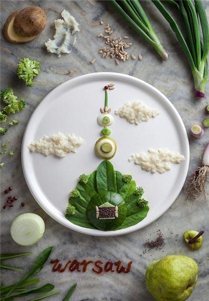 تزئینات هنرمندانه یک آشپز روی سبزیجات و مواد غذایی