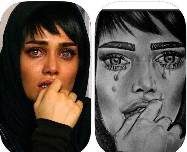 نقاشی های چهره تینا آخوند تبار که خودش دوستشان دارد