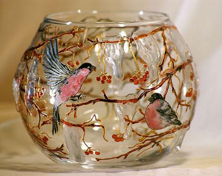 نمونه های زیبای هنر ویترای روی  ظروف شیشه ای