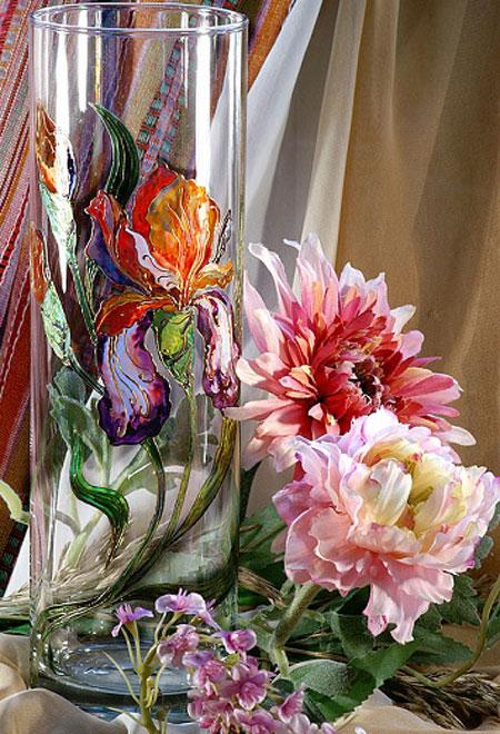 نمونه هاي زيباي هنر ويتراي روي ظروف شيشه اي