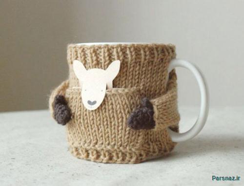 برای لیوان های قهوه تان لباس ببافید تا قهوه تان گرم بماند