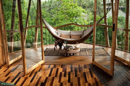 خانه بسیار شیک محمک و گران ساخته شده از بامبو
