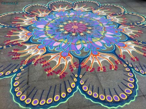 نقاشی های خیابانی فانتزی بسیار زیبا با شن و ماسه های رنگی