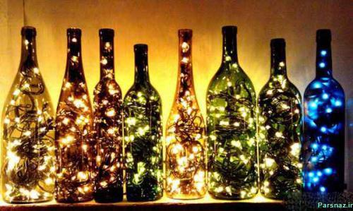 دکوراسیون بسیار زیبا با بطری های شیشه بازیافتی