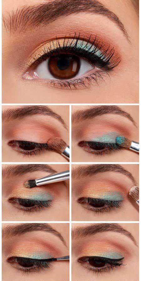 آموزش تصویری آرایش چشم آبی نگین دار و ارکیده و.....