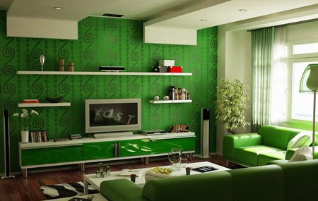 دیزاین زیبای منزل با رنگ آرام بخش سبز