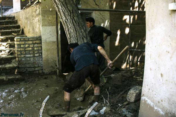تصاویر غم انگیز بعد از جاری شدن سیل در منطقه سیجان، محور کرج چالوس