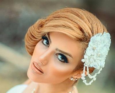 تصاویر زیبا از آرایش و شینیون موی عروس