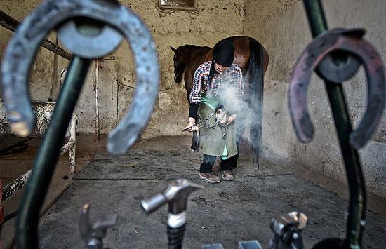 تصویر شجاعانه و جذاب از تک دختر نعلبند ایرانی