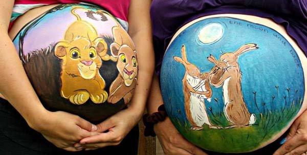 نقاشی های تخیلی روی شکم زنان حامله