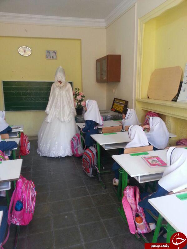 عکس های معلم ایرانی که با لباس عروس سر کلاس رفت