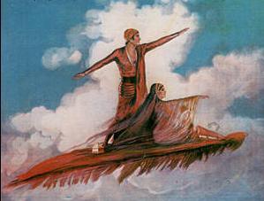 تصویری عجیب از عروس و داماد ایرانی سوار بر قالیچه پرنده