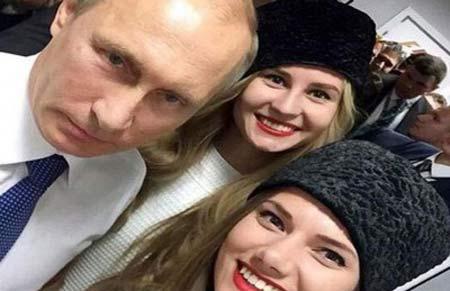 سلفی رئیس جمهور با ملکه زيبايي روسيه + عکس