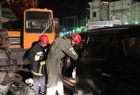 تصاویر تصادف شدید خودروی باران کوثری