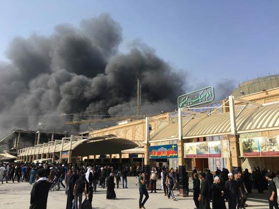صحن جدید حرم حضرت علی آتش گرفت + عکس